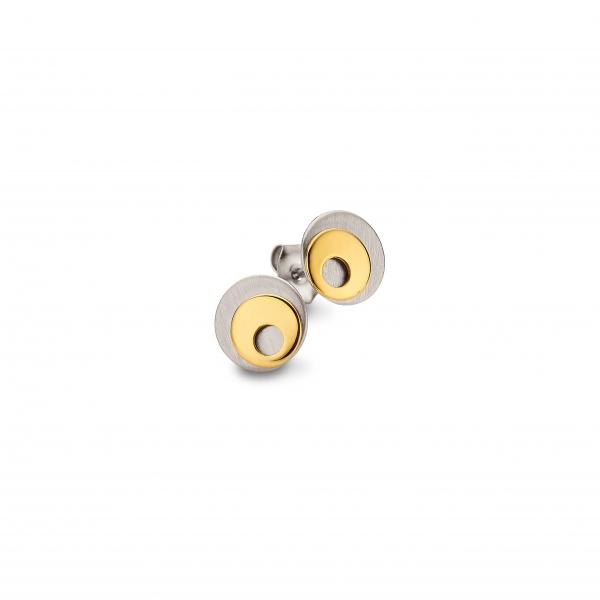 CEM Titan Ohrschmuck Damen Ohrstecker Schmuck gold-farbig graue Perle CT6-018